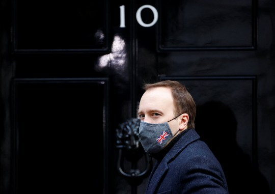 Britain's Health Secretary Matt Hancock arrives at Downing Street, in London, Britain, January 6, 2021. REUTERS/John Sibley