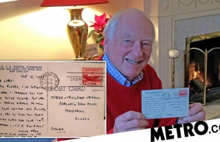 Lost postcard finally delivered to retired man after...